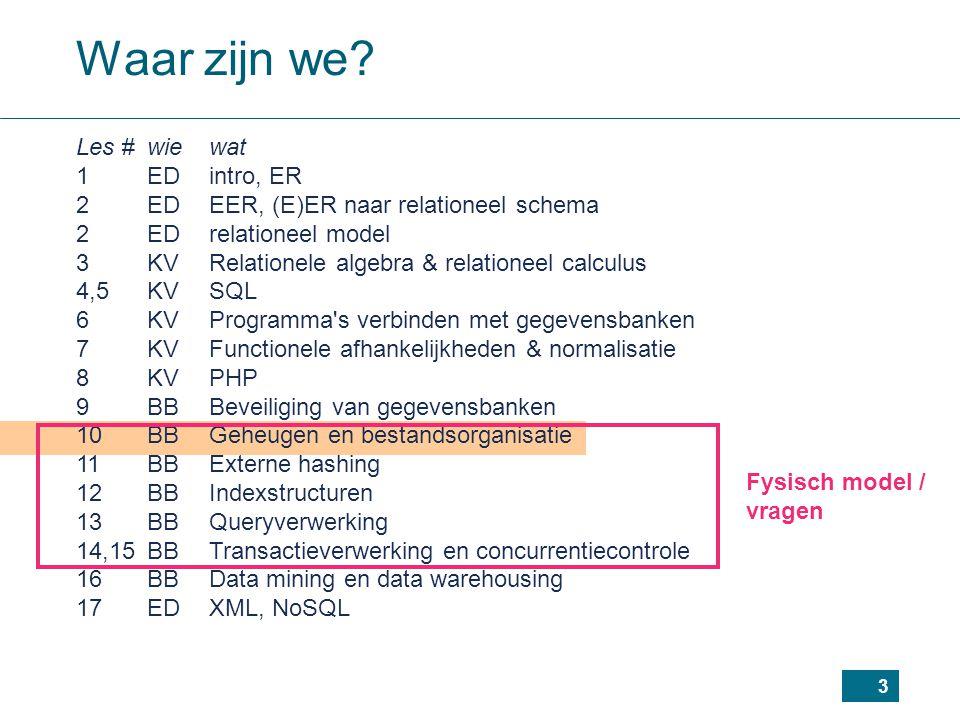3 Waar zijn we? Les #wiewat 1EDintro, ER 2EDEER, (E)ER naar relationeel schema 2EDrelationeel model 3KVRelationele algebra & relationeel calculus 4,5K