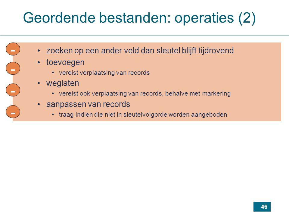 46 - -- - Geordende bestanden: operaties (2) zoeken op een ander veld dan sleutel blijft tijdrovend toevoegen vereist verplaatsing van records weglate