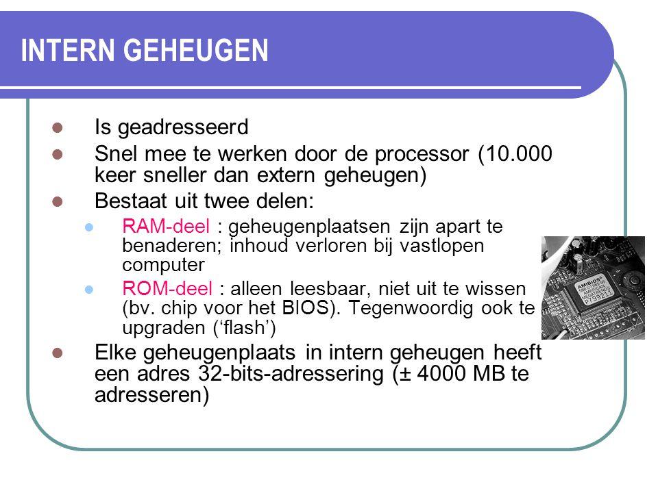INTERN GEHEUGEN Is geadresseerd Snel mee te werken door de processor (10.000 keer sneller dan extern geheugen) Bestaat uit twee delen: RAM-deel : gehe