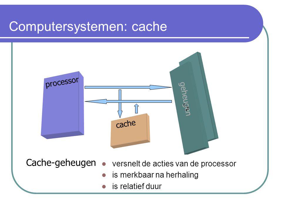 Computersystemen: cache processor 5 geheugen cache Cache-geheugen versnelt de acties van de processor is merkbaar na herhaling is relatief duur