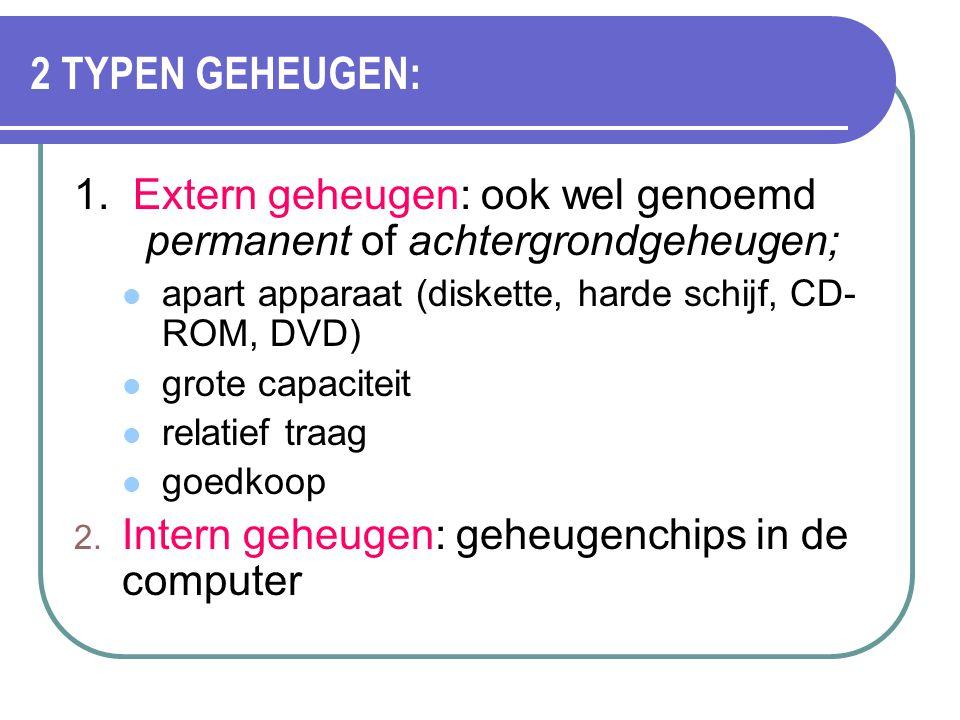 2 TYPEN GEHEUGEN: 1. Extern geheugen: ook wel genoemd permanent of achtergrondgeheugen; apart apparaat (diskette, harde schijf, CD- ROM, DVD) grote ca
