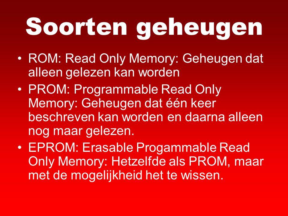 Soorten geheugen ROM: Read Only Memory: Geheugen dat alleen gelezen kan worden PROM: Programmable Read Only Memory: Geheugen dat één keer beschreven k