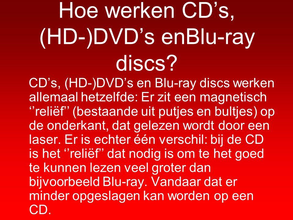Hoe werken CD's, (HD-)DVD's enBlu-ray discs? CD's, (HD-)DVD's en Blu-ray discs werken allemaal hetzelfde: Er zit een magnetisch ''reliëf'' (bestaande