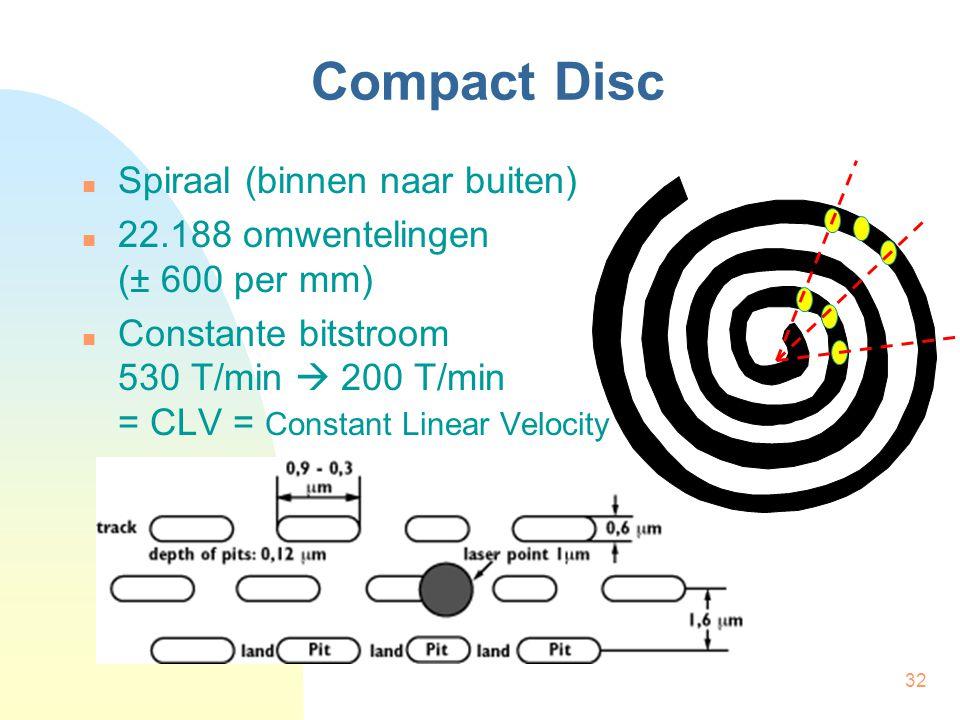32 Compact Disc Spiraal (binnen naar buiten) 22.188 omwentelingen (± 600 per mm) Constante bitstroom 530 T/min  200 T/min = CLV = Constant Linear Vel