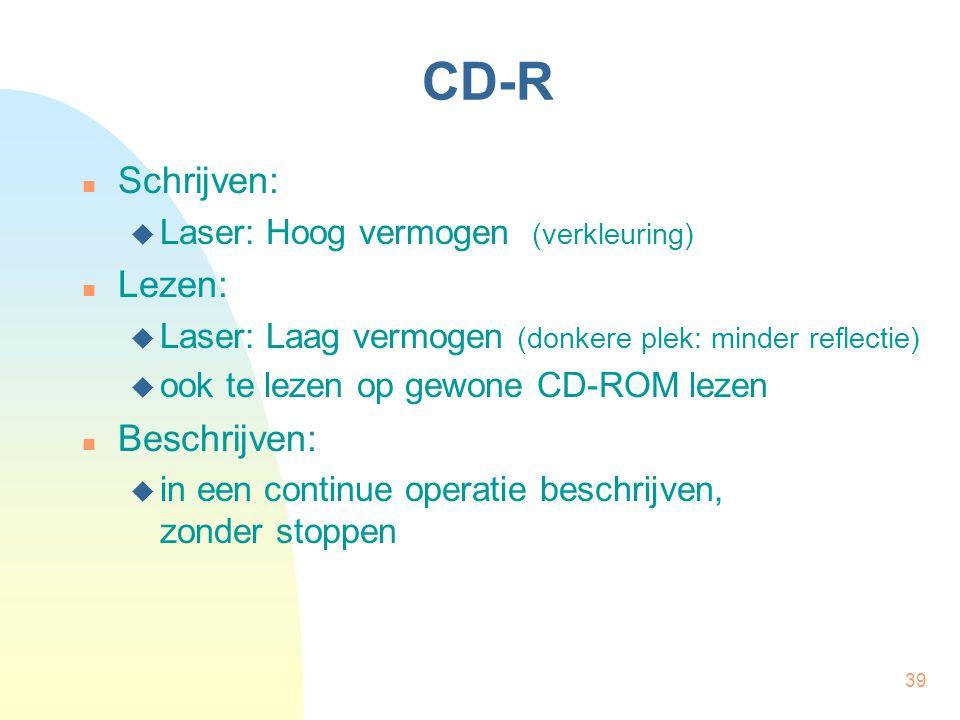 39 CD-R Schrijven:  Laser: Hoog vermogen (verkleuring) Lezen:  Laser: Laag vermogen (donkere plek: minder reflectie)  ook te lezen op gewone CD-ROM