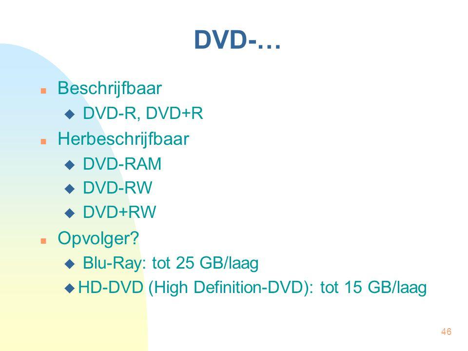46 DVD-… Beschrijfbaar  DVD-R, DVD+R Herbeschrijfbaar  DVD-RAM  DVD-RW  DVD+RW Opvolger?  Blu-Ray: tot 25 GB/laag  HD-DVD (High Definition-DVD):