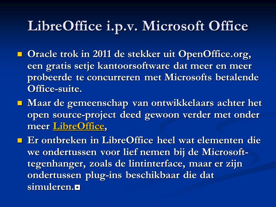 LibreOffice i.p.v. Microsoft Office Oracle trok in 2011 de stekker uit OpenOffice.org, een gratis setje kantoorsoftware dat meer en meer probeerde te