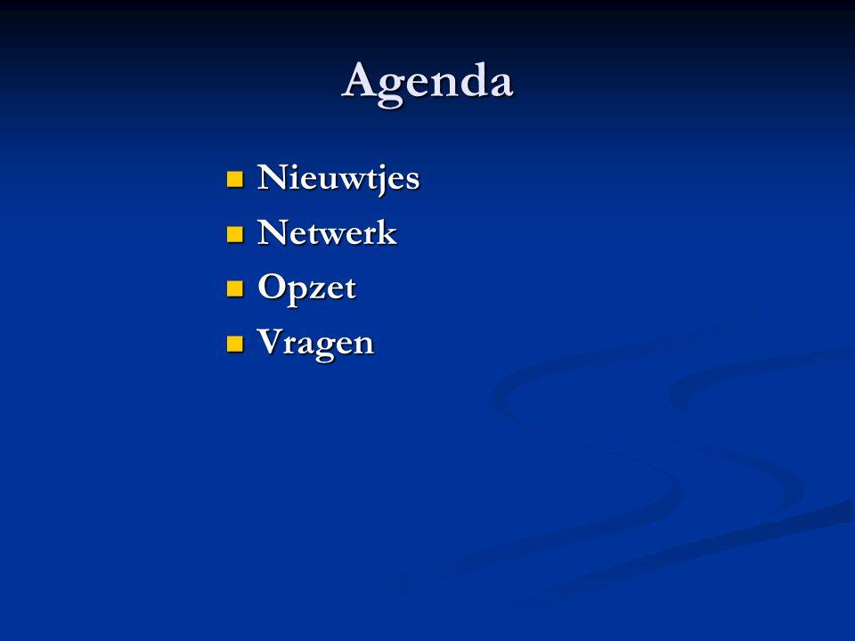 Agenda Nieuwtjes Nieuwtjes Netwerk Netwerk Opzet Opzet Vragen Vragen