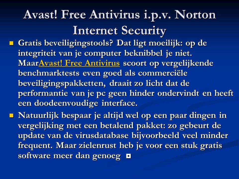 Avast! Free Antivirus i.p.v. Norton Internet Security Gratis beveiligingstools? Dat ligt moeilijk: op de integriteit van je computer beknibbel je niet