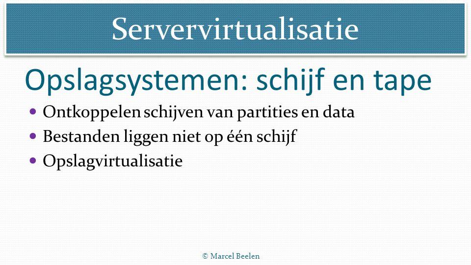 Servervirtualisatie © Marcel Beelen Opslagsystemen: schijf en tape Ontkoppelen schijven van partities en data Bestanden liggen niet op één schijf Opsl