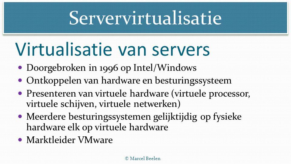 Servervirtualisatie © Marcel Beelen Virtualisatie van servers Doorgebroken in 1996 op Intel/Windows Ontkoppelen van hardware en besturingssysteem Pres