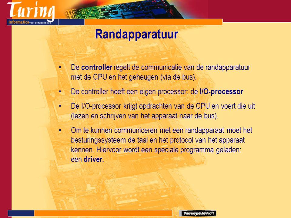 Randapparatuur De controller regelt de communicatie van de randapparatuur met de CPU en het geheugen (via de bus).
