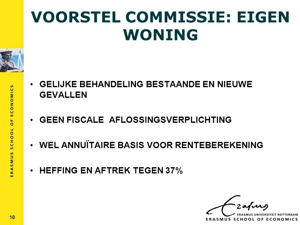 VOORSTEL COMMISSIE: EIGEN WONING GELIJKE BEHANDELING BESTAANDE EN NIEUWE GEVALLEN GEEN FISCALE AFLOSSINGSVERPLICHTING WEL ANNUÏTAIRE BASIS VOOR RENTEBEREKENING HEFFING EN AFTREK TEGEN 37% 10