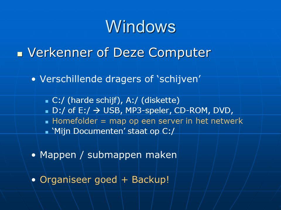 Windows Verkenner of Deze Computer Verkenner of Deze Computer Verschillende dragers of 'schijven' C:/ (harde schijf), A:/ (diskette) D:/ of E:/  USB,