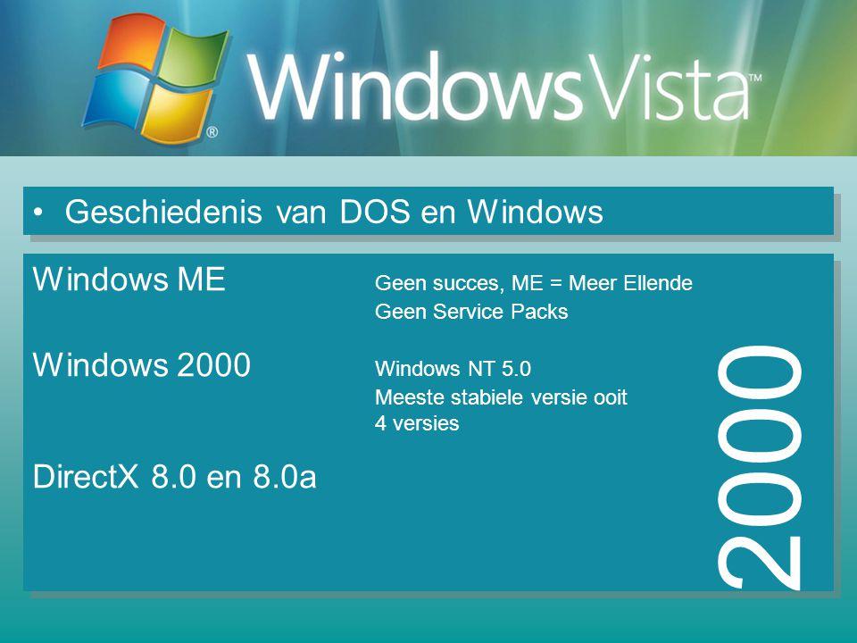 Geschiedenis van DOS en Windows 2000 Windows ME Geen succes, ME = Meer Ellende Geen Service Packs Windows 2000 Windows NT 5.0 Meeste stabiele versie ooit 4 versies DirectX 8.0 en 8.0a