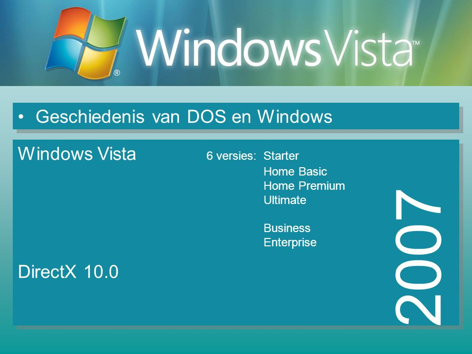 Geschiedenis van DOS en Windows 2007 Windows Vista 6 versies: Starter Home Basic Home Premium Ultimate Business Enterprise DirectX 10.0