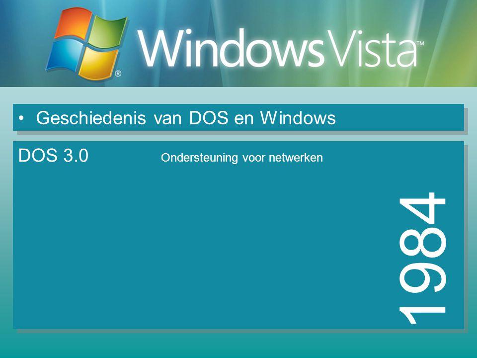 Geschiedenis van DOS en Windows 1985 DOS 3.2 Windows 1.0 Geen overlappende vensters Opstarten met DOS, dan Windows starten