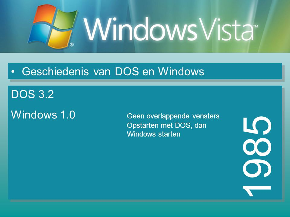 Geschiedenis van DOS en Windows 1985 DOS 3.2 Windows 1.0 Geen overlappende vensters Opstarten met DOS, dan Windows starten