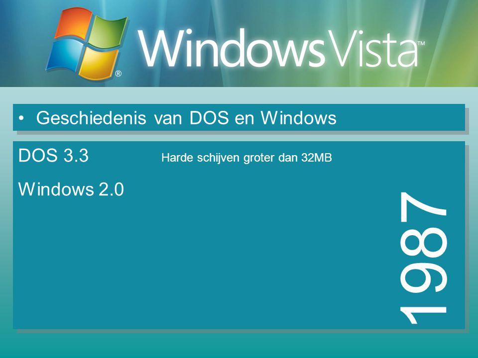 Geschiedenis van DOS en Windows 1987 DOS 3.3 Harde schijven groter dan 32MB Windows 2.0