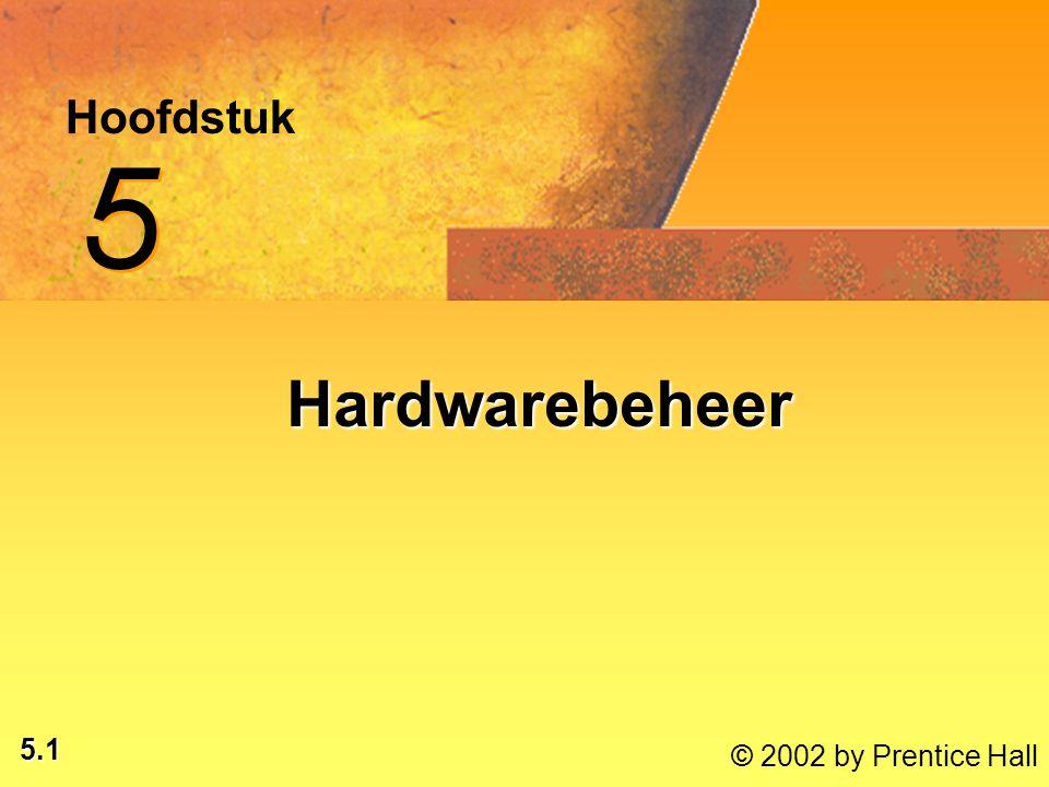 5.1 © 2002 by Prentice Hall Hoofdstuk 5 5 Hardwarebeheer Hardwarebeheer