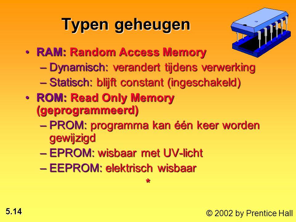 5.14 © 2002 by Prentice Hall Typen geheugen RAM: Random Access MemoryRAM: Random Access Memory –Dynamisch: verandert tijdens verwerking –Statisch: blijft constant (ingeschakeld) ROM: Read Only Memory (geprogrammeerd)ROM: Read Only Memory (geprogrammeerd) –PROM: programma kan één keer worden gewijzigd –EPROM: wisbaar met UV-licht –EEPROM: elektrisch wisbaar *