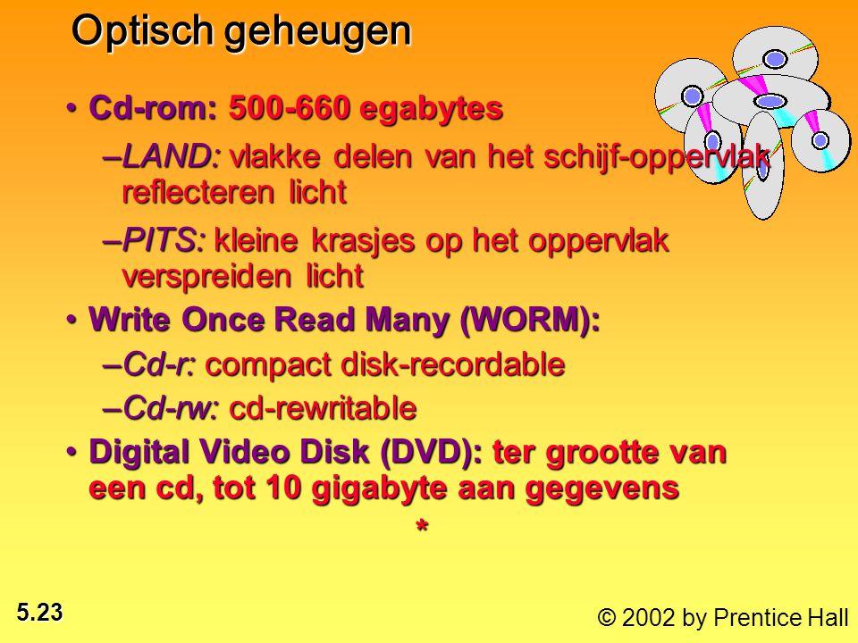 5.23 © 2002 by Prentice Hall Cd-rom: 500-660 egabytesCd-rom: 500-660 egabytes –LAND: vlakke delen van het schijf-oppervlak reflecteren licht –PITS: kleine krasjes op het oppervlak verspreiden licht Write Once Read Many (WORM):Write Once Read Many (WORM): –Cd-r: compact disk-recordable –Cd-rw: cd-rewritable Digital Video Disk (DVD): ter grootte van een cd, tot 10 gigabyte aan gegevensDigital Video Disk (DVD): ter grootte van een cd, tot 10 gigabyte aan gegevens* Optisch geheugen