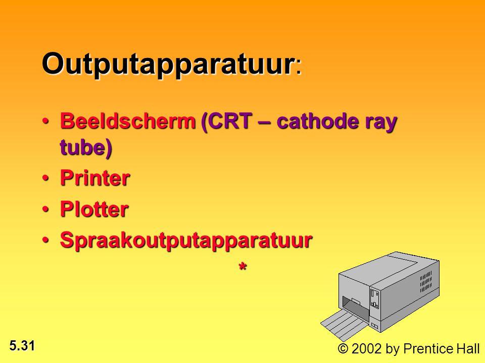 5.31 Outputapparatuur : Beeldscherm (CRT – cathode ray tube)Beeldscherm (CRT – cathode ray tube) PrinterPrinter PlotterPlotter SpraakoutputapparatuurSpraakoutputapparatuur*