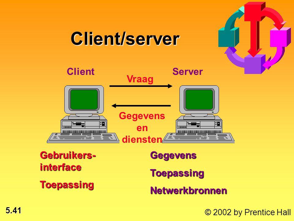 5.41 © 2002 by Prentice Hall Client Server Vraag Gegevens en diensten Gebruikers- interface ToepassingGegevensToepassingNetwerkbronnen Client/server