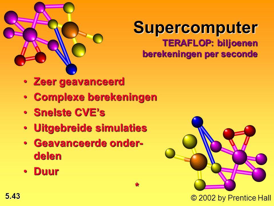 5.43 © 2002 by Prentice Hall Supercomputer TERAFLOP: biljoenen berekeningen per seconde Zeer geavanceerdZeer geavanceerd Complexe berekeningenComplexe berekeningen Snelste CVE'sSnelste CVE's Uitgebreide simulatiesUitgebreide simulaties Geavanceerde onder- delenGeavanceerde onder- delen DuurDuur*