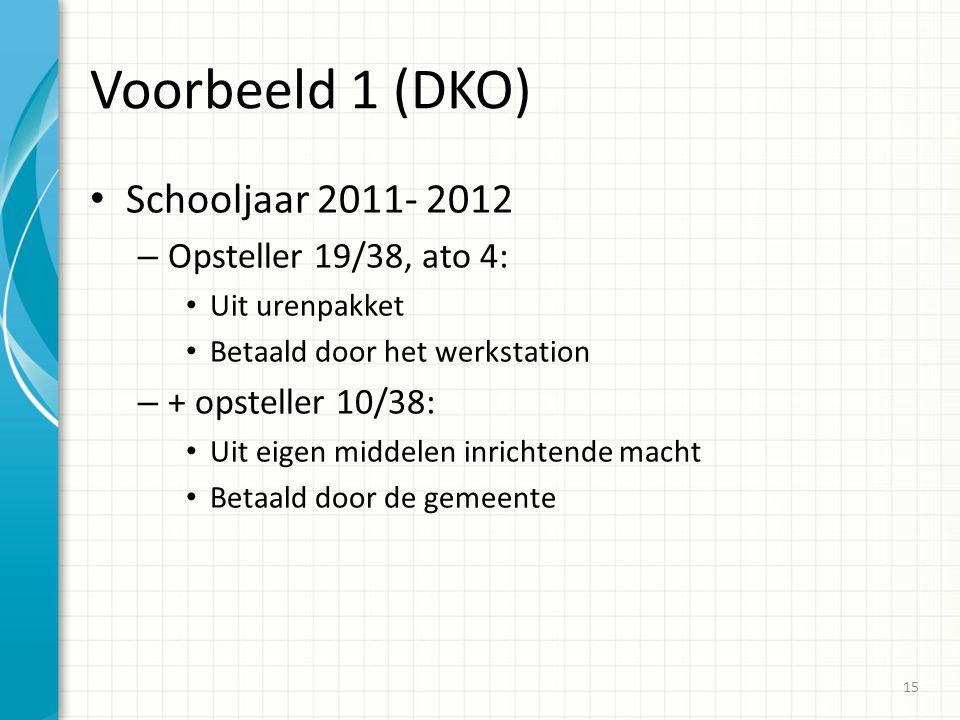Voorbeeld 1 (DKO) Schooljaar 2011- 2012 – Opsteller 19/38, ato 4: Uit urenpakket Betaald door het werkstation – + opsteller 10/38: Uit eigen middelen