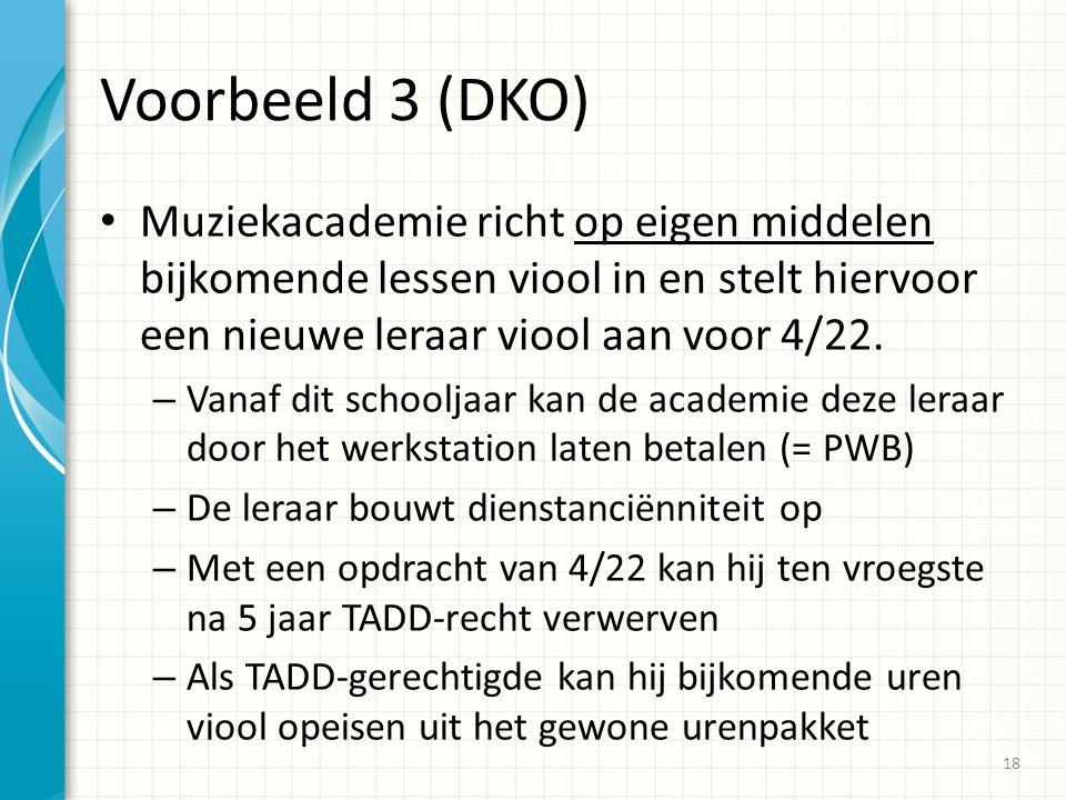 Voorbeeld 3 (DKO) Muziekacademie richt op eigen middelen bijkomende lessen viool in en stelt hiervoor een nieuwe leraar viool aan voor 4/22. – Vanaf d