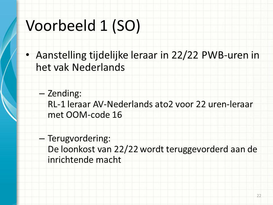 Voorbeeld 1 (SO) Aanstelling tijdelijke leraar in 22/22 PWB-uren in het vak Nederlands – Zending: RL-1 leraar AV-Nederlands ato2 voor 22 uren-leraar met OOM-code 16 – Terugvordering: De loonkost van 22/22 wordt teruggevorderd aan de inrichtende macht 22