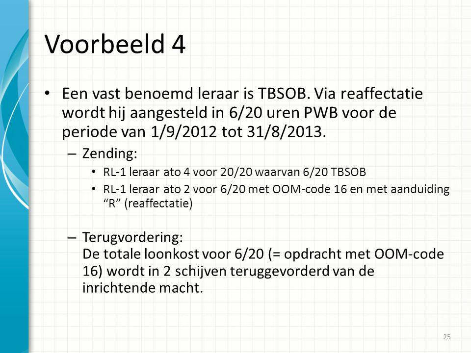 Voorbeeld 4 Een vast benoemd leraar is TBSOB. Via reaffectatie wordt hij aangesteld in 6/20 uren PWB voor de periode van 1/9/2012 tot 31/8/2013. – Zen