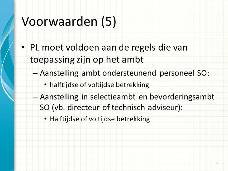 Voorwaarden (5) PL moet voldoen aan de regels die van toepassing zijn op het ambt – Aanstelling ambt ondersteunend personeel SO: halftijdse of voltijd