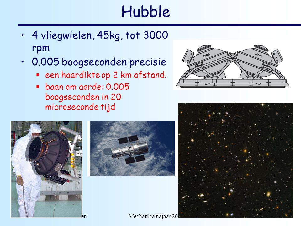 dr. H.J. Bulten Mechanica najaar 2007 12 Hubble 4 vliegwielen, 45kg, tot 3000 rpm 0.005 boogseconden precisie  een haardikte op 2 km afstand.  baan