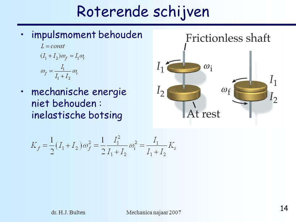 dr. H.J. Bulten Mechanica najaar 2007 14 Roterende schijven impulsmoment behouden mechanische energie niet behouden : inelastische botsing
