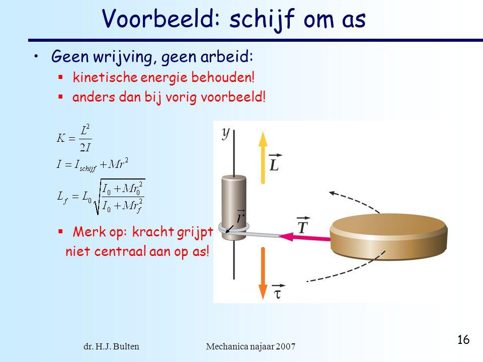 dr. H.J. Bulten Mechanica najaar 2007 16 Voorbeeld: schijf om as Geen wrijving, geen arbeid:  kinetische energie behouden!  anders dan bij vorig voo