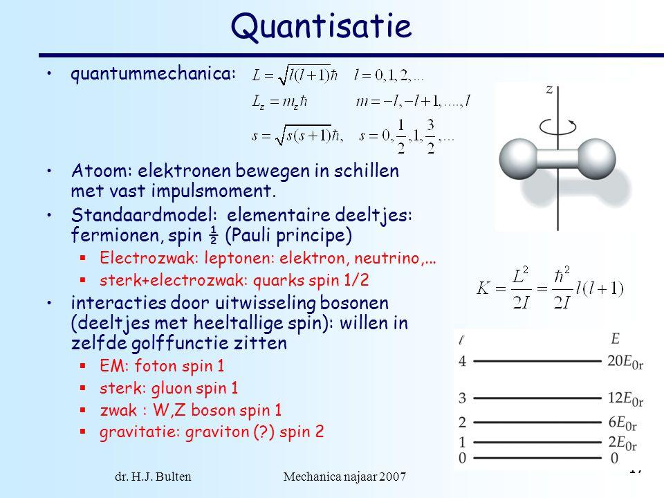 dr. H.J. Bulten Mechanica najaar 2007 17 Quantisatie quantummechanica: Atoom: elektronen bewegen in schillen met vast impulsmoment. Standaardmodel: el