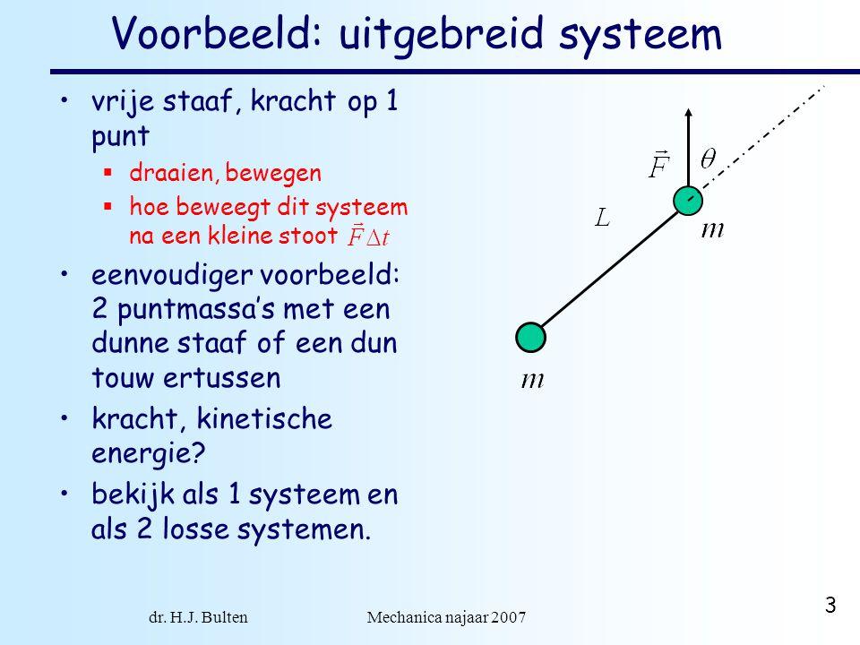 dr. H.J. Bulten Mechanica najaar 2007 3 Voorbeeld: uitgebreid systeem vrije staaf, kracht op 1 punt  draaien, bewegen  hoe beweegt dit systeem na ee