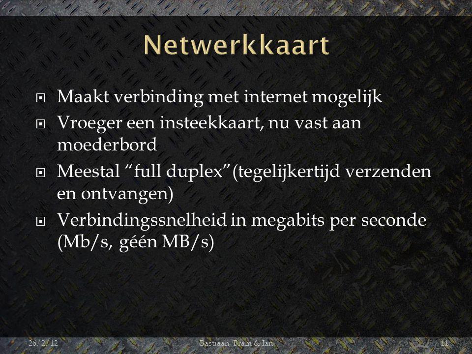  Maakt verbinding met internet mogelijk  Vroeger een insteekkaart, nu vast aan moederbord  Meestal full duplex (tegelijkertijd verzenden en ontvangen)  Verbindingssnelheid in megabits per seconde (Mb/s, géén MB/s) 26/2/12Bastiaan, Bram & Ian11