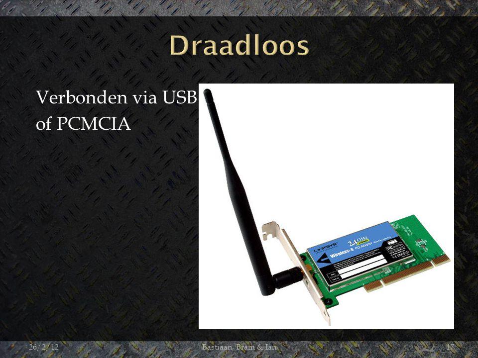 Verbonden via USB of PCMCIA 26/2/12Bastiaan, Bram & Ian17