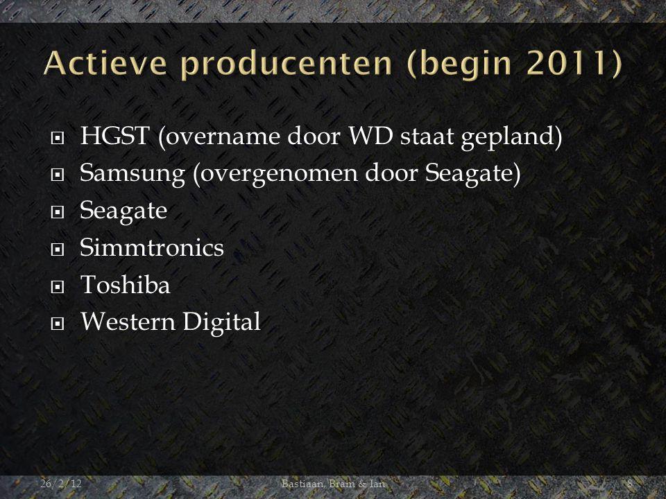  HGST (overname door WD staat gepland)  Samsung (overgenomen door Seagate)  Seagate  Simmtronics  Toshiba  Western Digital 26/2/12Bastiaan, Bram & Ian8