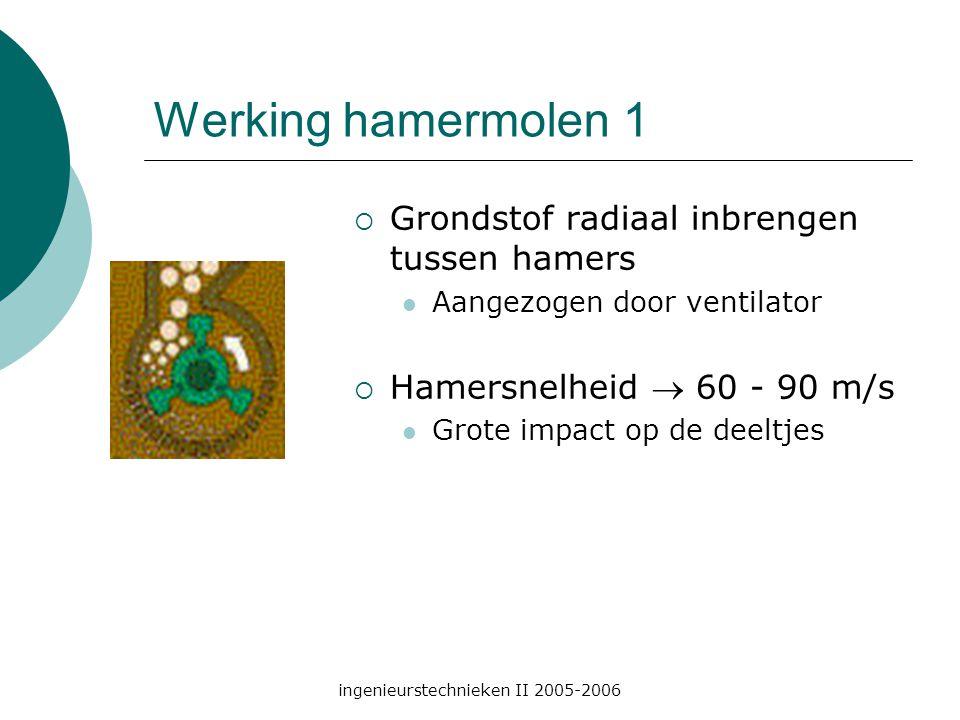ingenieurstechnieken II 2005-2006 Werking hamermolen 1  Grondstof radiaal inbrengen tussen hamers Aangezogen door ventilator  Hamersnelheid  60 - 90 m/s Grote impact op de deeltjes