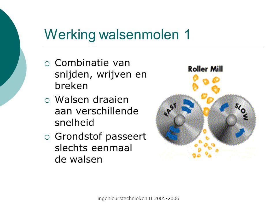 ingenieurstechnieken II 2005-2006 Werking walsenmolen 1  Combinatie van snijden, wrijven en breken  Walsen draaien aan verschillende snelheid  Grondstof passeert slechts eenmaal de walsen