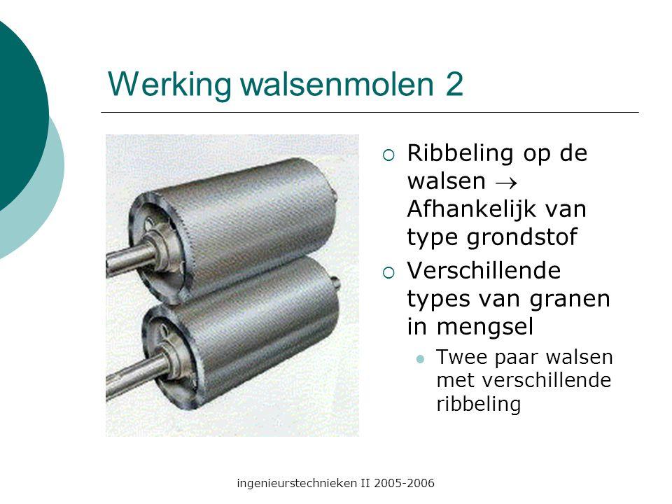 ingenieurstechnieken II 2005-2006 Werking walsenmolen 2  Ribbeling op de walsen  Afhankelijk van type grondstof  Verschillende types van granen in mengsel Twee paar walsen met verschillende ribbeling