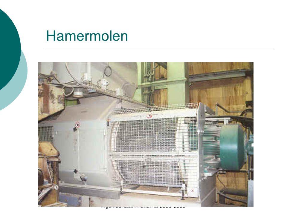 ingenieurstechnieken II 2005-2006 Opbouw hamermolen  Rotor met schijven  Per schijf  Aantal beweegbare hamers  Rond de rotor  Verwisselbare zeef  Voorreiniging voor de molen (magneet, luchtstroom)