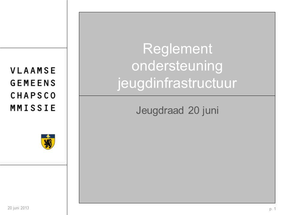 p. 1 20 juni 2013 Reglement ondersteuning jeugdinfrastructuur Jeugdraad 20 juni
