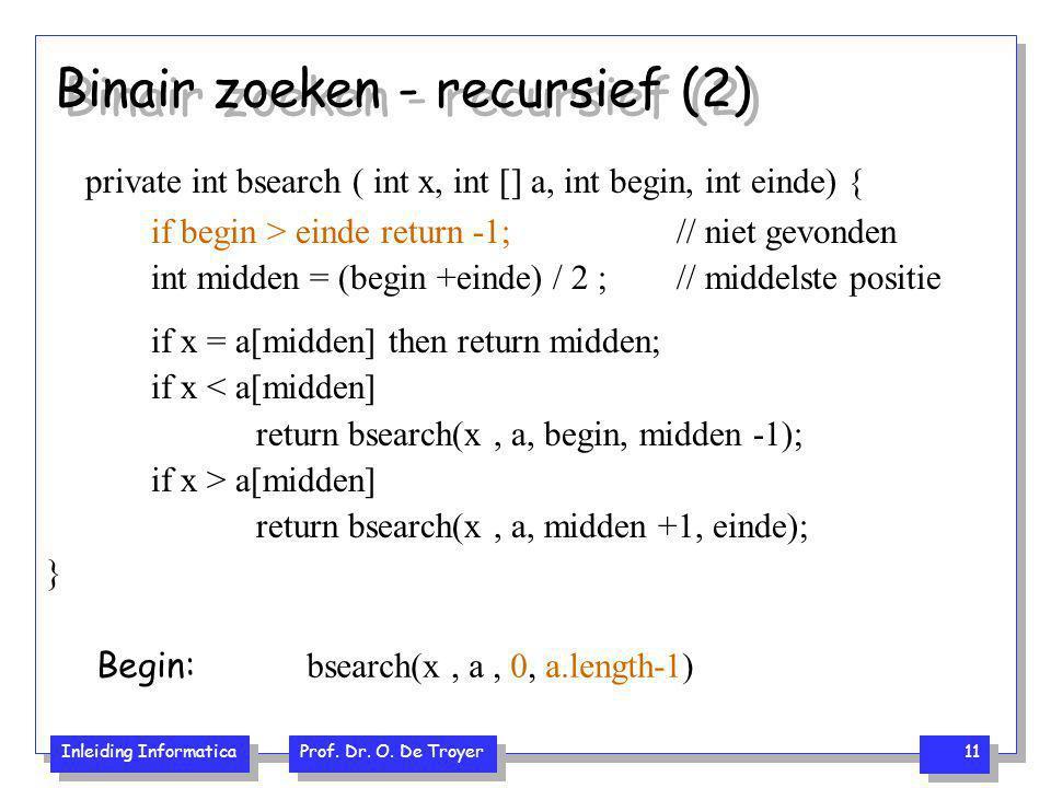 Inleiding Informatica Prof. Dr. O. De Troyer 11 Binair zoeken - recursief (2) private int bsearch ( int x, int [] a, int begin, int einde) { if begin