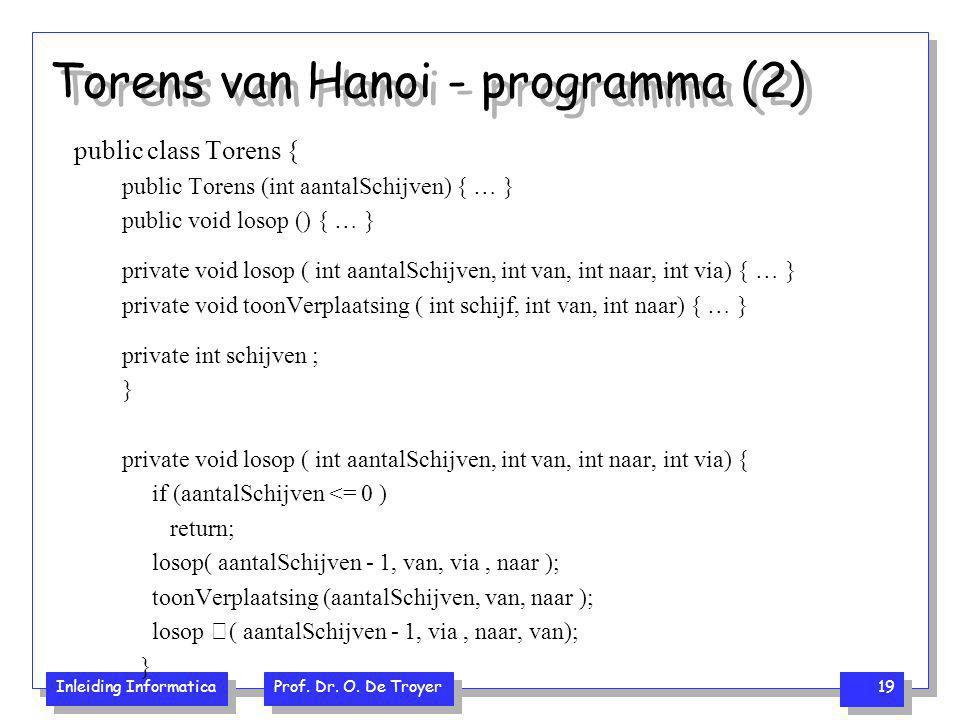 Inleiding Informatica Prof. Dr. O. De Troyer 19 Torens van Hanoi - programma (2) public class Torens { public Torens (int aantalSchijven) { … } public