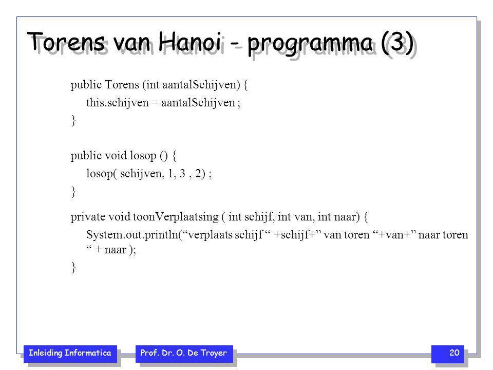 Inleiding Informatica Prof. Dr. O. De Troyer 20 Torens van Hanoi - programma (3) public Torens (int aantalSchijven) { this.schijven = aantalSchijven ;